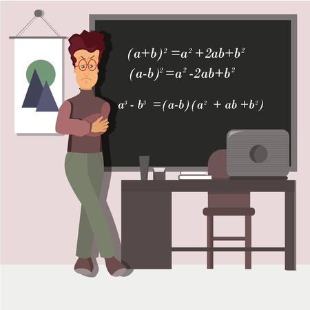 Strict teacher in front of a blackboard with mathematical formulas.