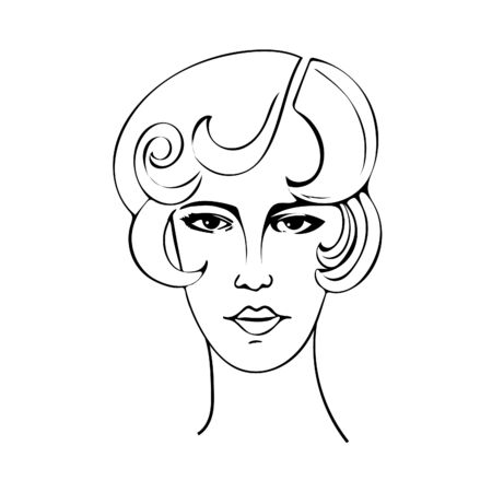 Black and white illustration of a beautiful woman of the twenties.