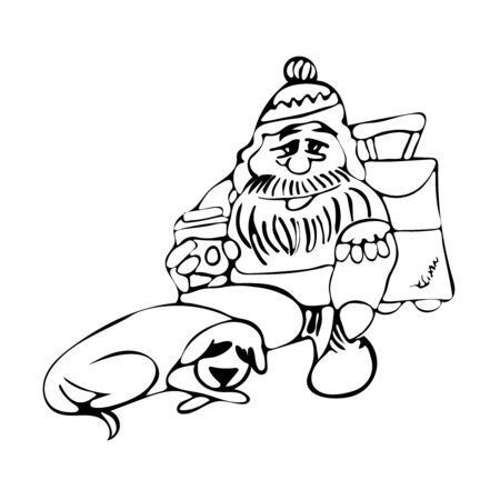 The dog lies at the feet of the owner.   Faithful friendship of man and animal. Homeless man with a dog on the street.   Illustration