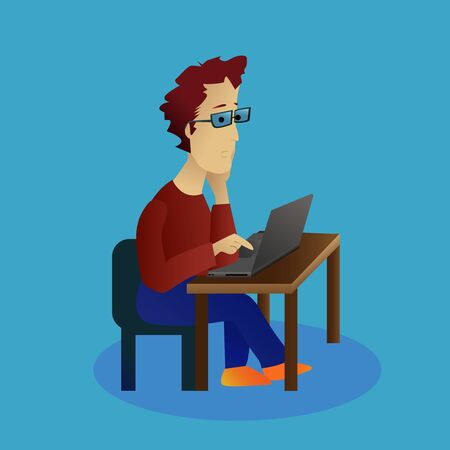 A young man in glasses sits with a computer and is bored. A bored student is looking at the computer. Ilustração