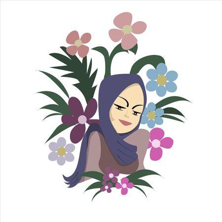Cute muslim girl in a blue shawl. llustration for the book. Flat vector Ilustração