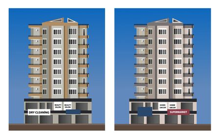 Residential buildings in the city center. High-tech. Flat, vector, cartoon, illustration. Objects on a blue background. Banco de Imagens - 141363856