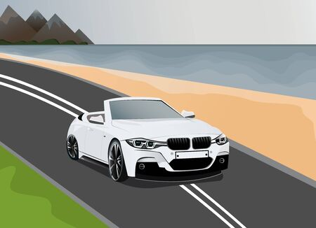 Luxury white coupe car on an empty road along the sea. Banco de Imagens - 141363857
