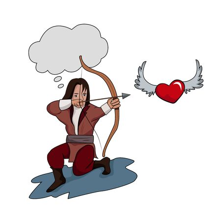 A boy shoots a bow at a winged heart.