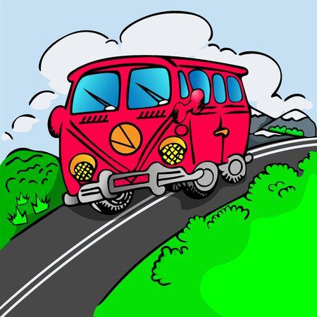Red cartoon bus. Banco de Imagens - 144231195