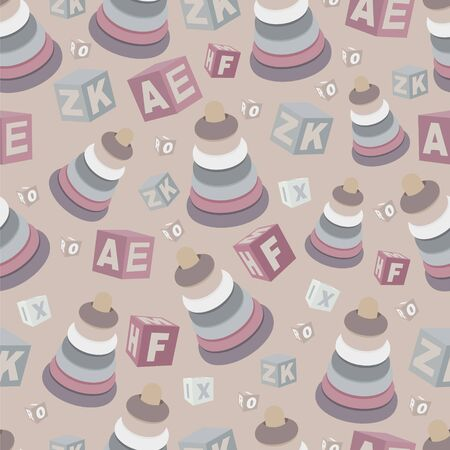 Seamless pattern with children s pyramids and cubes with letters. Banco de Imagens - 144702192