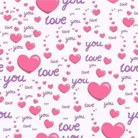 Seamless pattern with pink hearts and the inscription love you. Banco de Imagens - 144702194