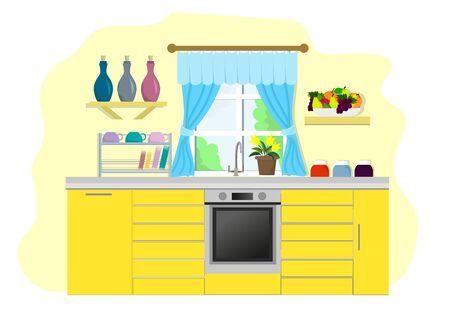 Stylish cozy kitchen in yellow tones with kitchen utensils and a bowl of fruit. Vector image.