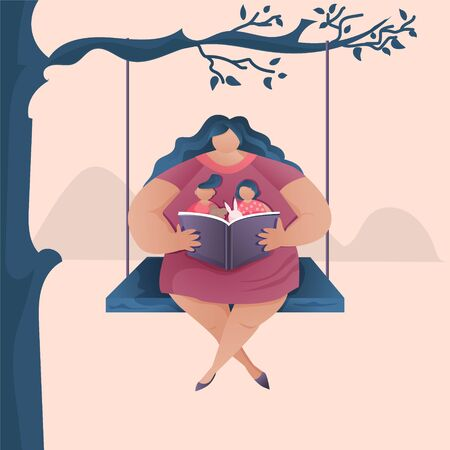 Mom sits on a swing under a tree and reads a book to her children.