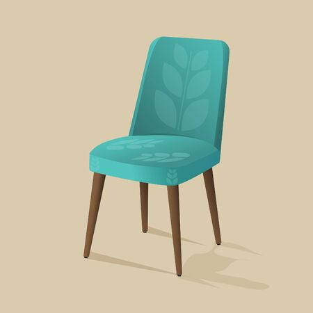 Stylish chair with soft upholstery in blue color. Banco de Imagens - 145244080