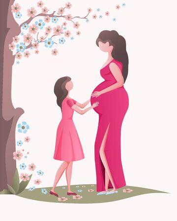 Daughter with a pregnant mom. Ilustración de vector