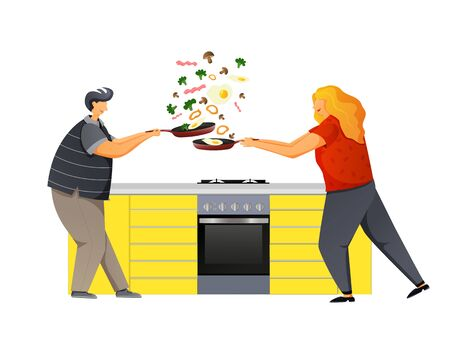 Loving couple having fun in the kitchen. The man and the woman are holding a frying pan in their hands. Ilustração