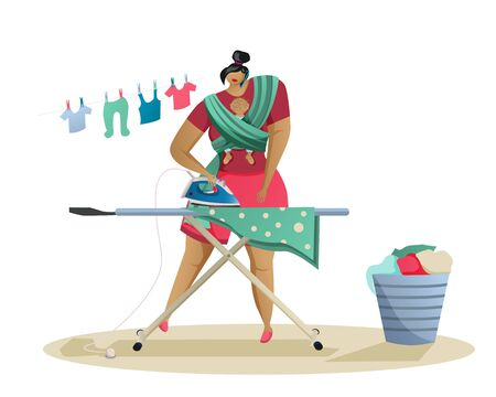 Mom with a small child at home talking on the phone. Woman ironing clothes. Ironing board, iron and laundry basket. Vector illustration Banco de Imagens - 147041483