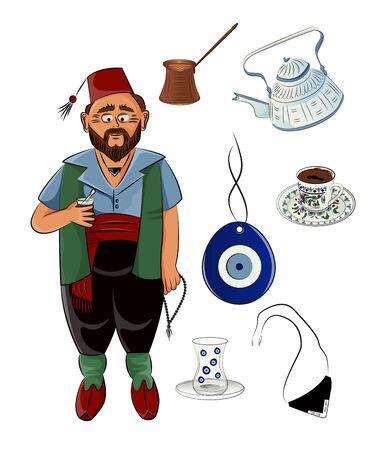 Set of turkish traditional utensils. Ottoman Man.
