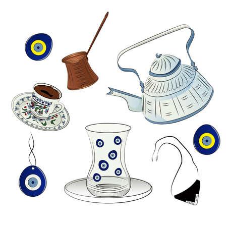 Set of vector illustrations  イラスト・ベクター素材