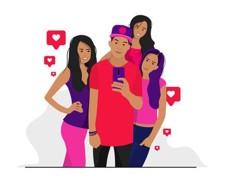 Modern young people Ilustração
