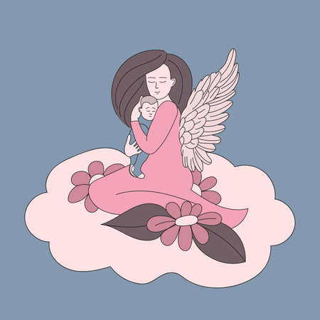 Mother with angel wing holds a small child in her arms