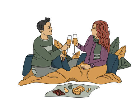 Couple in love drinking champagne