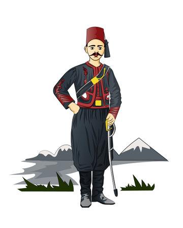 Turkish sailor army uniform. Ilustração
