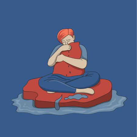 Sad guy crying Ilustração