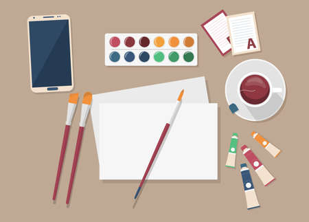 Artist s set. Top view vector illustration of artist s workplace. Oil paint, watercolors, canvas and brushes, cup of tea.