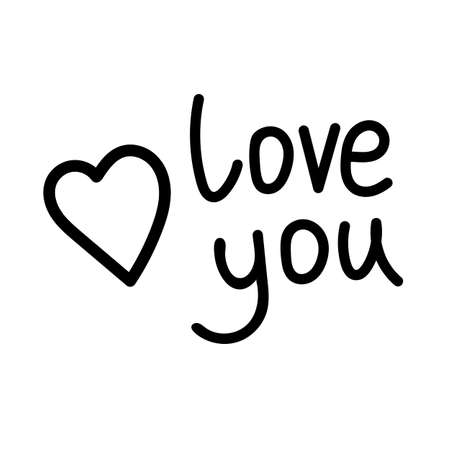 Love you text with heart. Love you - black calligraphy inscription. Love You vector illustration for postcard, greeting card and banner. Valentine's day card.