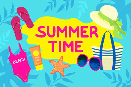Summer 2021 bright greeting banner. Bag for the beach, sunglasses, swimsuit, hat. Vector illustration on blue background with Monstera leaves