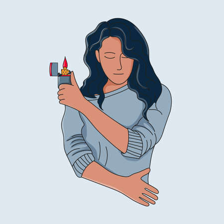 Young girl with fire. Lighter in hand. Monoline drawing Ilustração