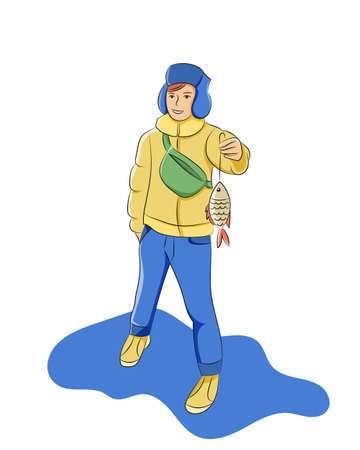 Vector illustration boy fishing.