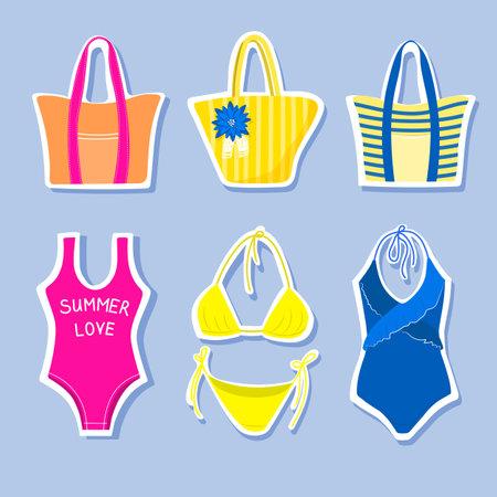 Set of beach stickers