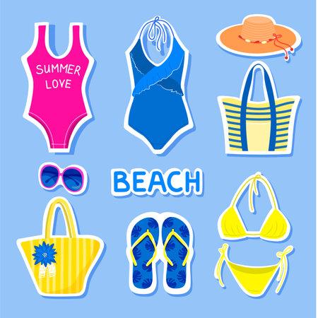 Set of summer stickers. Ilustração
