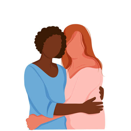 Two girls of hug each other