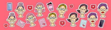Sticker female face