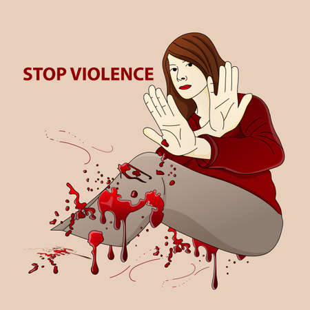 Stop violence against women. Woman with raised arms in front of herself defends herself. Blood drips. Ilustração