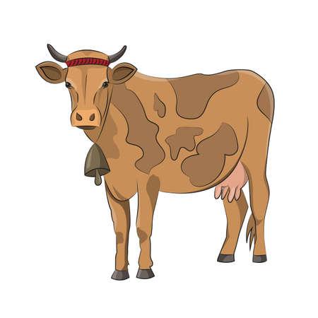 Cartoon cow on white background