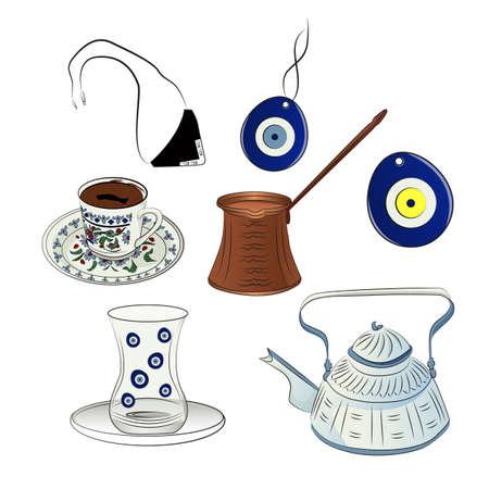 Illustration of traditional Turkish coffee on a white background. Set of vector illustrations Ilustração