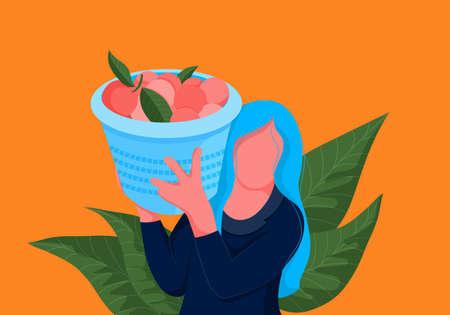 Orange picker. Woman carrying basket full of oranges on her shoulder. Bright illustration