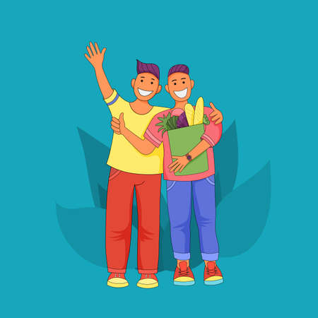 Male friendship. Two cheerful guys hugging. Men are happy after shopping. Guys with big smiles vector Illustration Ilustração