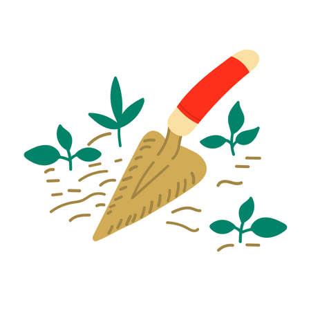 Hand drawn garden tools. Vector sketch illustration