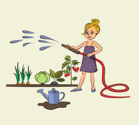 Cheerful hardworking girl works in the garden and hose down vegetables. Ilustração