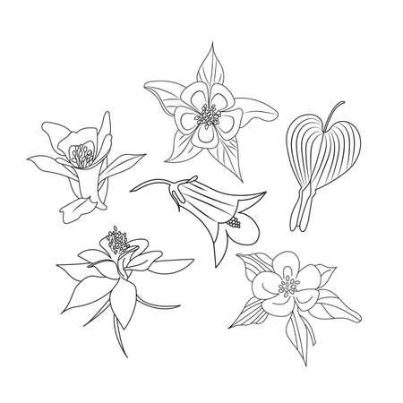 Set of wildflowers. Sketch style. Ilustração