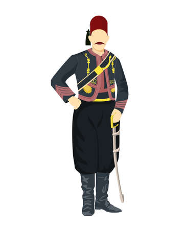 Turkish sailor army uniform. Standing soldier holding a sword.