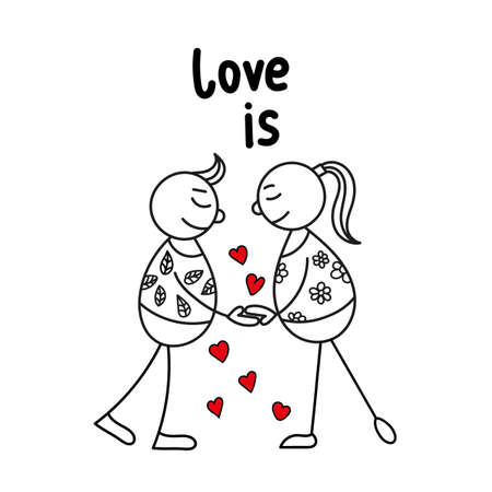 Hand drawing sketch doodle human stick figure couple in love with on a background of red heart vector illustration