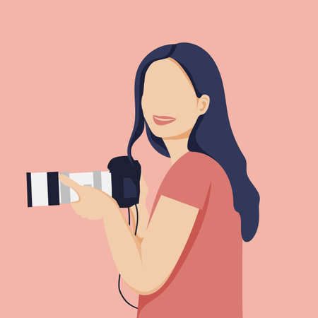 Pretty girl photographer holding a camera in her hand. Vector illustrat on.
