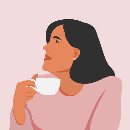 Beautiful young white woman enjoying a cup of coffee while relaxing at work. Portrait of a woman with a beautiful face and hair. Side view. Isolated on a pink background. Ilustração