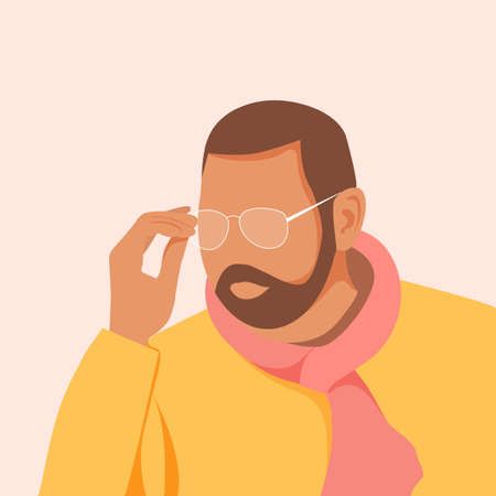 Handsome young man with beard wearing glasses. Guy in orange stylish shirt. Vector illustration