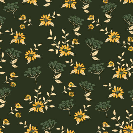 Seamless cute floral vector pattern.