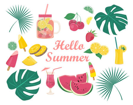 Hello summer. Set of decorative elements on a white background