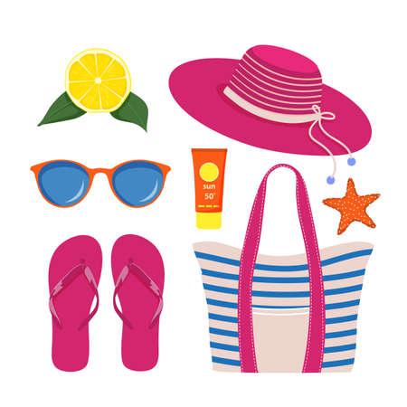 Set of beach accessories on white background Ilustração