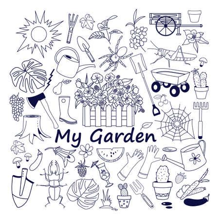 Vector gardening doodle set, hand drawn isolated design of gardening elements. Ilustração